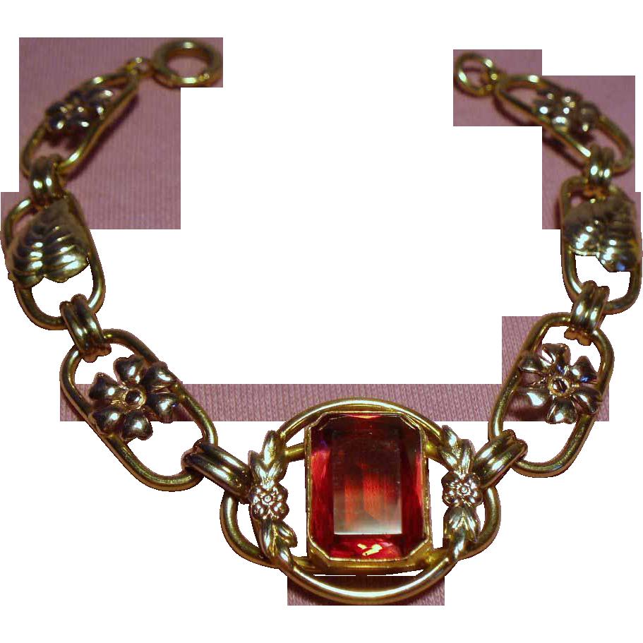 Vintage Art Deco Gold Filled Bracelet Faceted Red Glass Stone