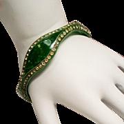 Vintage Art Deco Green Celluloid Rhinestone Bangle Bracelet