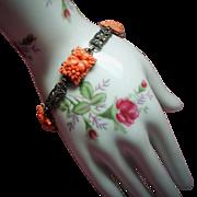 Vintage Art Deco Molded Coral Glass Flowers Sterling Marcasite Bracelet