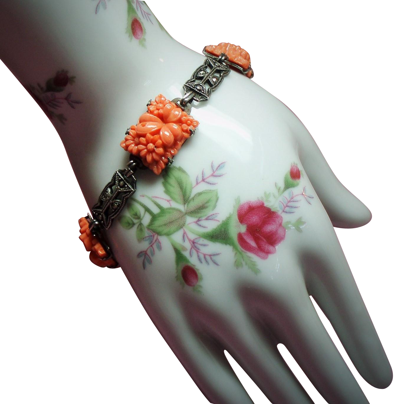 Vintage Art Deco Molded Coral Glass Flowers Sterling Marcasite Bracelet