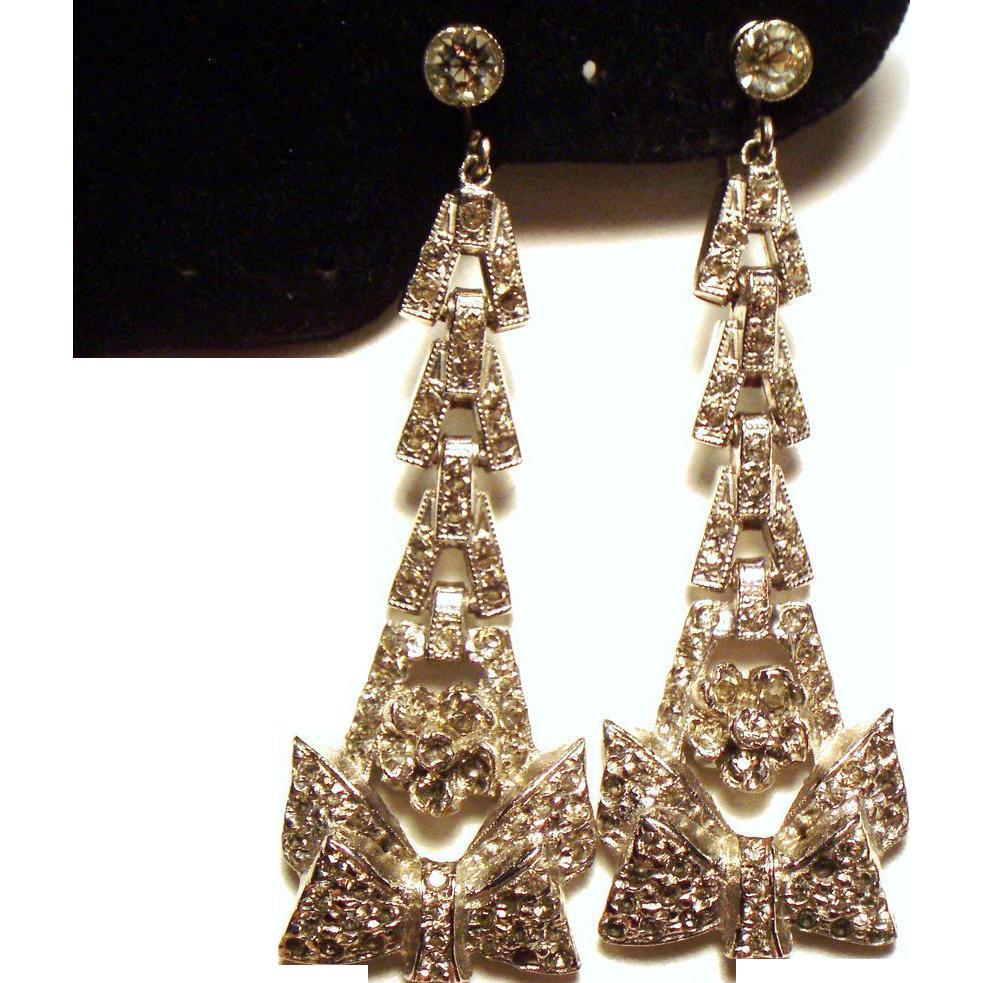 VIntage Art Deco Paste Stone Long Drop Pendant Earrings