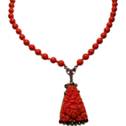 Vintage Art Deco Germany Molded Faux Coral  & Bead Sterling Marcasite Pendant Necklace