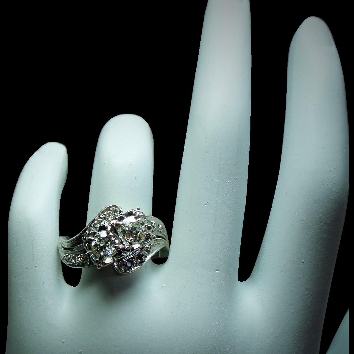 Vintage Art Deco Two Stone European Cut Diamond 14K White Gold Ring