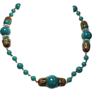 Vintage Art Deco Jade Green Glass Bead Crystal Disc Choker Necklace