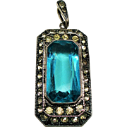 Vintage Art Deco Aqua Faceted Glass & Paste Sterling Pendant