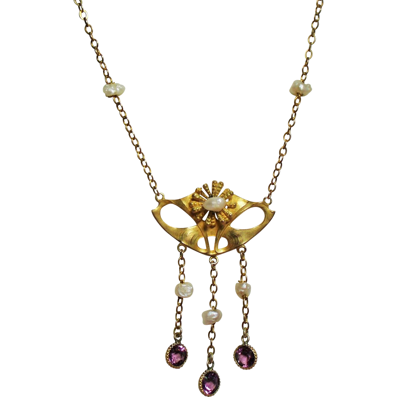 Antique Art Nouveau 10K Lavalier Necklace Fresh Water Pearls Amethyst Crystal Droplets