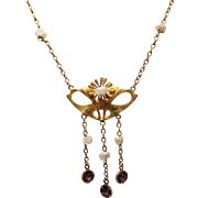 Antique Art Nouveau 10K Lavalier Necklace River Pearls and Amethyst Paste Droplets