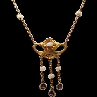 Antique Art Nouveau 10K Lavalier Necklace River Pearls and Amethyst Paste Droplets
