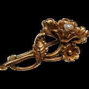 Antique Art Nouveau River Pearl Petite Flower Pin