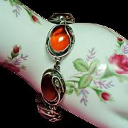 Vintage Amber Cabochon Art Nouveau Style Sterling Bracelet