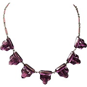 Vintage Art Deco Faceted Amethyst Vauxhall Glass Sky Scraper Choker Necklace