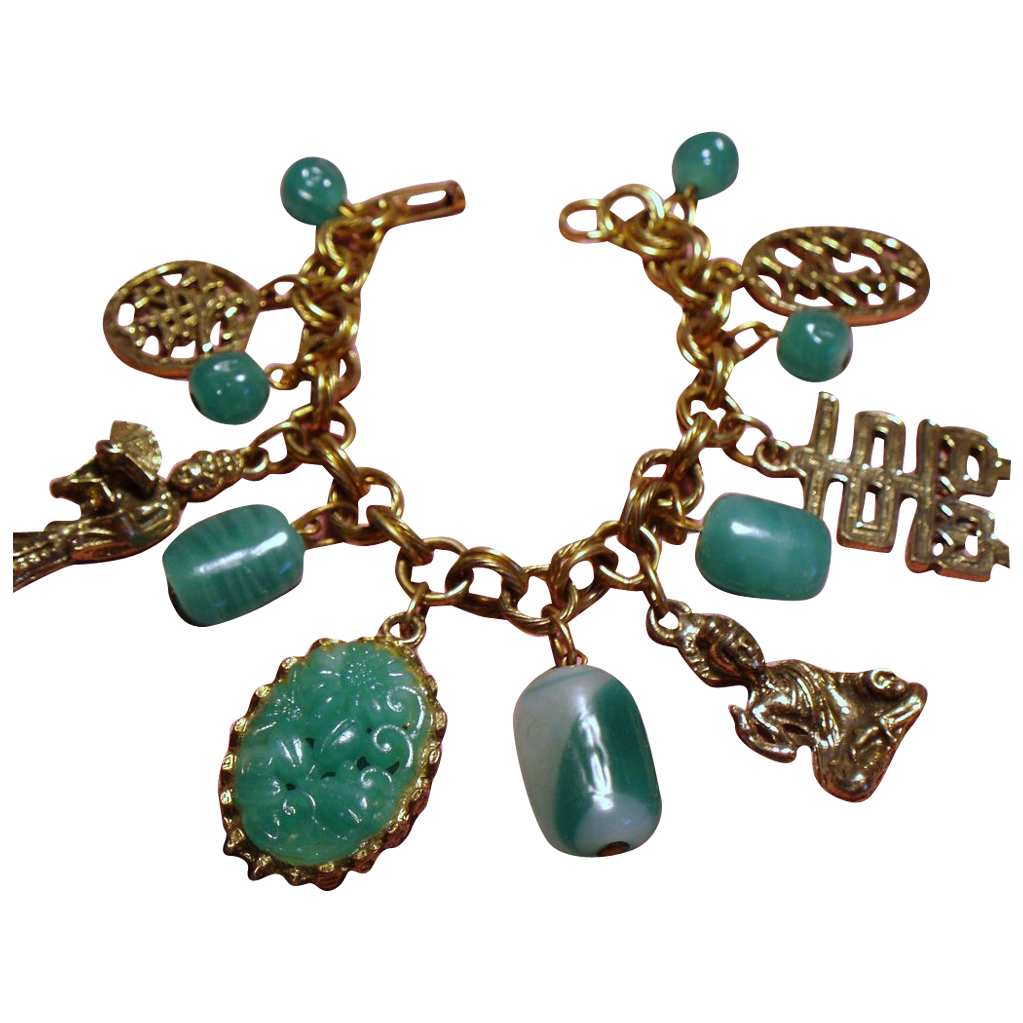 Vintage Asian Figural Faux Carved Jade Glass Bead Charm Bracelet