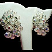 Vintage Austria Aurora Borealis Crystal Bead Drippy Cluster Earrings