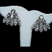 Vintage Austria Colorless Navette Rhinestone Earrings