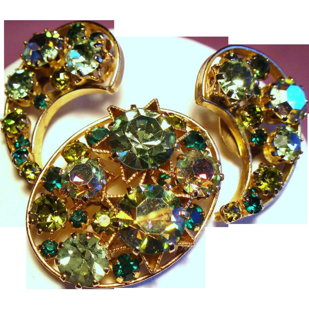 Vintage Austria Crescent Moon Stars Rhinestone Brooch Earrings Demi Parure