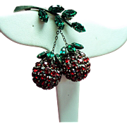 Vintage Austria Red Rhinestone Dangling Fruit Brooch