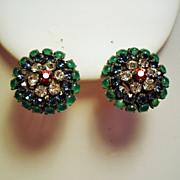 Vintage Austria Faux Cabochon Gem Stone Earrings