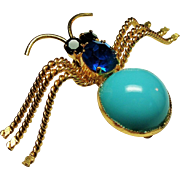 Vintage Austria Turquoise Glass Cabochon Rhinestone Insect Spider Brooch