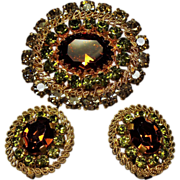 Vintage Austria Autumn Colored Crystal Rhinestone Brooch Earrings Set