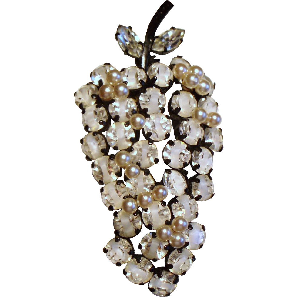 Vintage Austria White Givre Rhinestone Faux Pearl Fruit Brooch