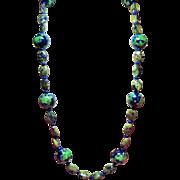 Vintage Azurite & Large Cobalt Blue Green Hand Painted Porcelain Bead Longer Length Necklace