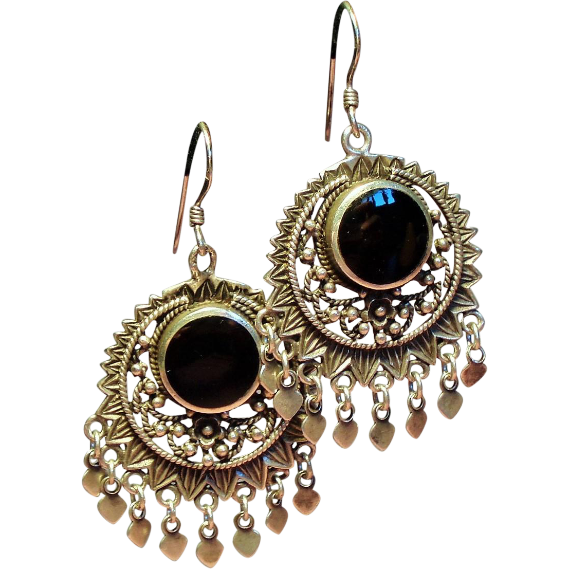 Vintage Balinese Sterling Black Onyx Drop Pierced Fringe Earrings