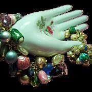 Vintage Baubles Bangles Beads Charm Bracelet Earrings Demi Parure