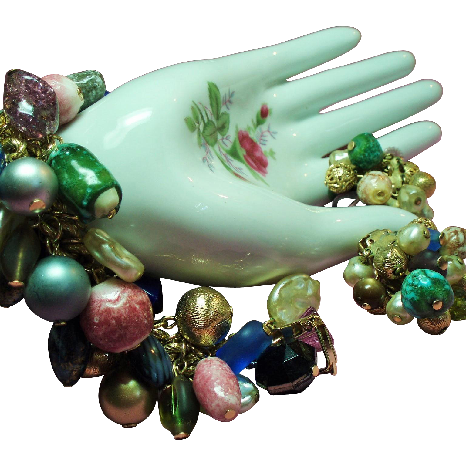 Vintage Baubles Bangles Beads Charm Bracelet Earrings Demi Parure