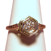 Vintage Art Deco Belais European Cut Diamond Solitaire 18K White Gold Engagement Ring