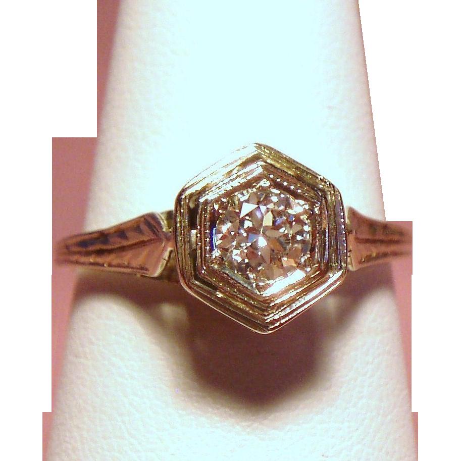 Vintage Art Deco Belais European Cut Diamond Solitaire 18K White Gold Engagement Ring