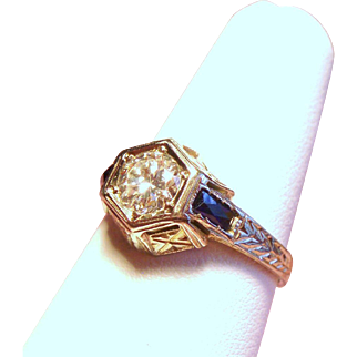 Vintage Art Deco Belais Brothers .50 Carat European Cut Diamond Solitaire 18K White Gold Engagement Ring