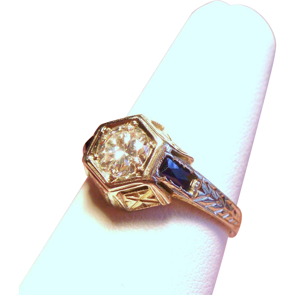 Vintage Art Deco Belais Brothers .50 Carat European Cut Diamond Solitaire 18K White Gold Engagement Ring