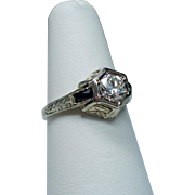Vintage Art Deco Belais Brothers .50 Carat European Cut Diamond & Sapphire 18K White Gold Engagement Ring