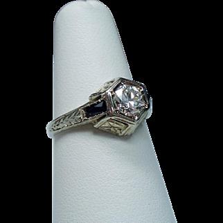 Vintage Art Deco Belais Brothers .50 Carat European Cut Diamond & Sapphire 18K White Gold Engagement Ring