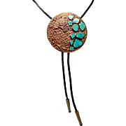 Vintage Bell Trading Company Copper Turquoise Corinthian Bolo Tie