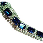 Vintage Large Sapphire Blue Rectangular Glass Rhinestone Wide Bracelet