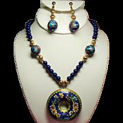 Vintage Cobalt Blue Glass Bead Long Necklace Cloisonne Donut Pendant Long Drop Earrings Demi Parure