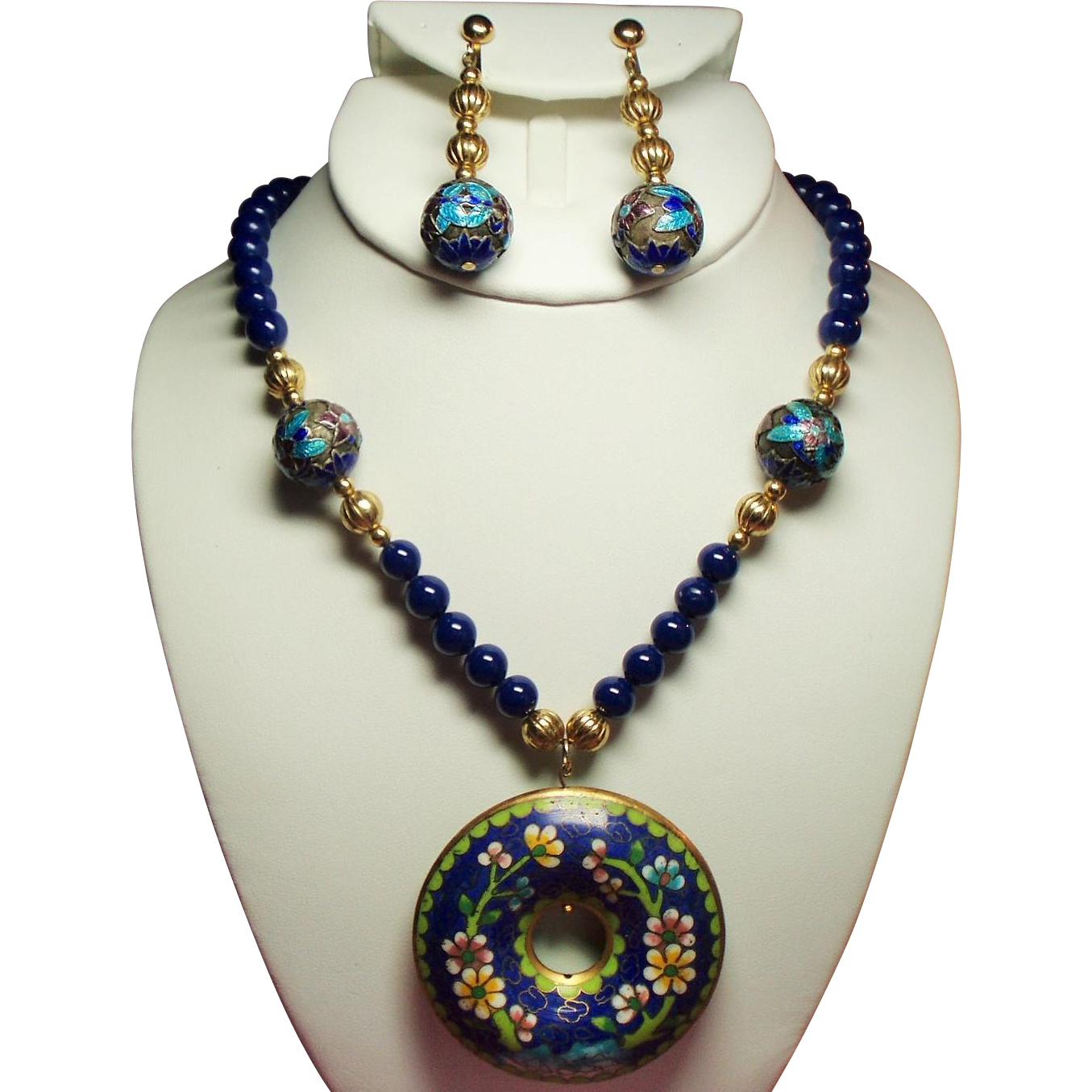 Vintage Cobalt Blue Glass Bead Long Necklace Cloisonne Donut Pendant Long Drop Earrings Demi Parure