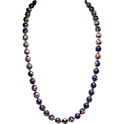 Vintage Blue Cloisonne Bead Matinee Length Necklace