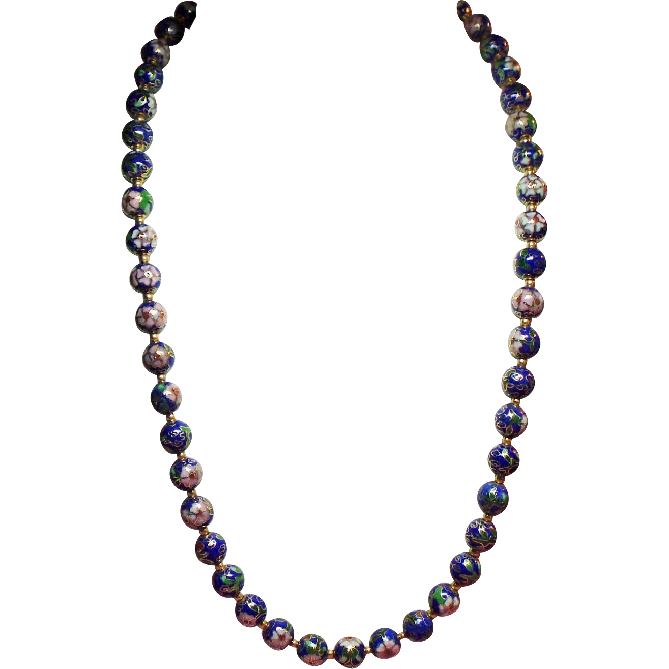 Vintage Blue Cloisonne Bead Matinee Length Necklace