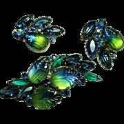 Vintage Blue Green Molded Givre Glass Stones Brooch Earrings Demi Parure.
