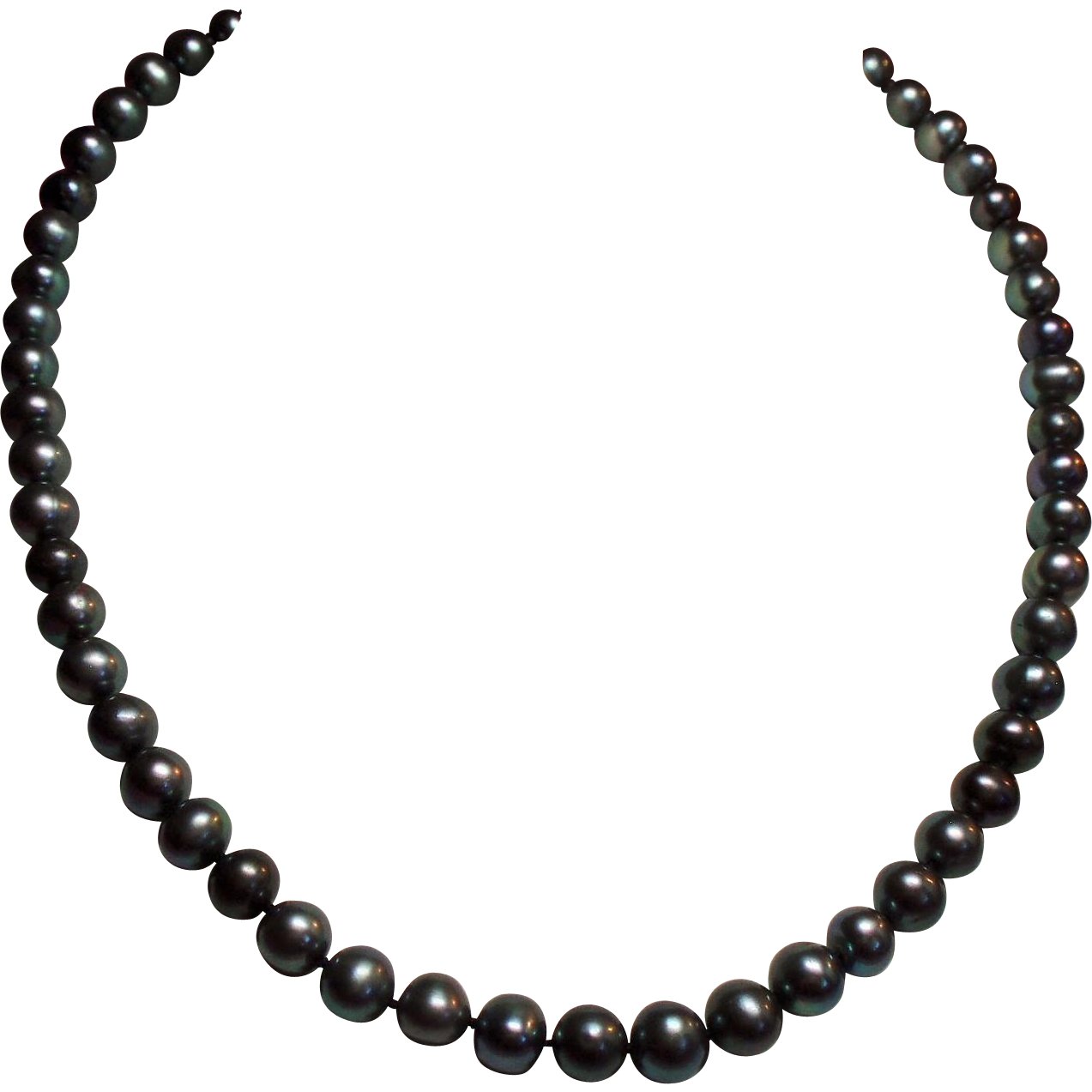 Vintage Cultured Grey Pearl Matinee Length Necklace