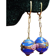 Vintage Blue Venetian Wedding Cake Glass Bead Long Drop Earrings