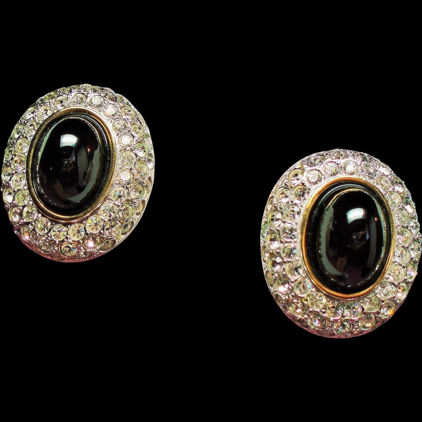 Vintage Designer Black Glass Cabochon Pave Rhinestone Earrings
