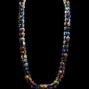 Vintage Italian Black Millefiori Glass Bead Opera Length Necklace