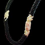 Vintage Black Onyx Bead Long Torsade Necklace Carved Angel Skin Coral & Freshwater Pearls
