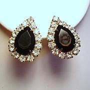 Vintage Pear Shape Black Faceted Glass Rhinestone Earrings
