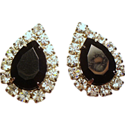 Vintage Pear Shape Black Faceted Glass Rhinestone Earrings