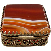 Antique Victorian Banded Agate Petite Ormolu Box