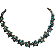 Vintage Bogoff Aqua & Colorless Rhinestone Flower Collar Necklace